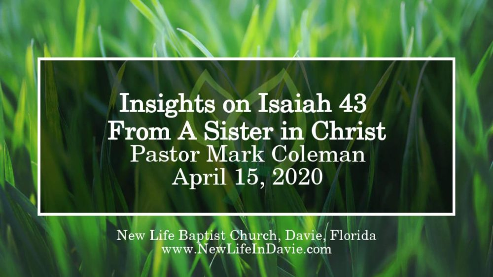 Insights on Isaiah 43 From A Sister in Christ