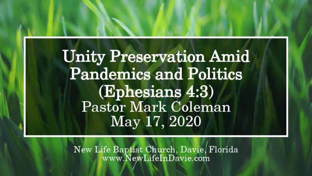 Unity Preservation Amid Pandemics and Politics (Ephesians 4:3)